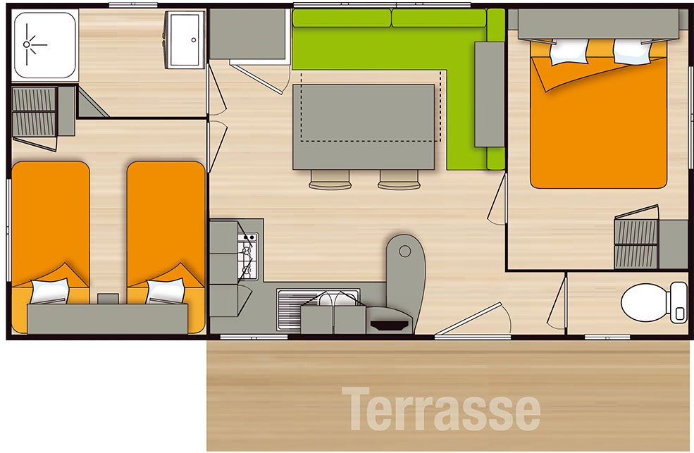Mobil Home 4/6 Places Grand Confort 2 chambres terrasse bois
