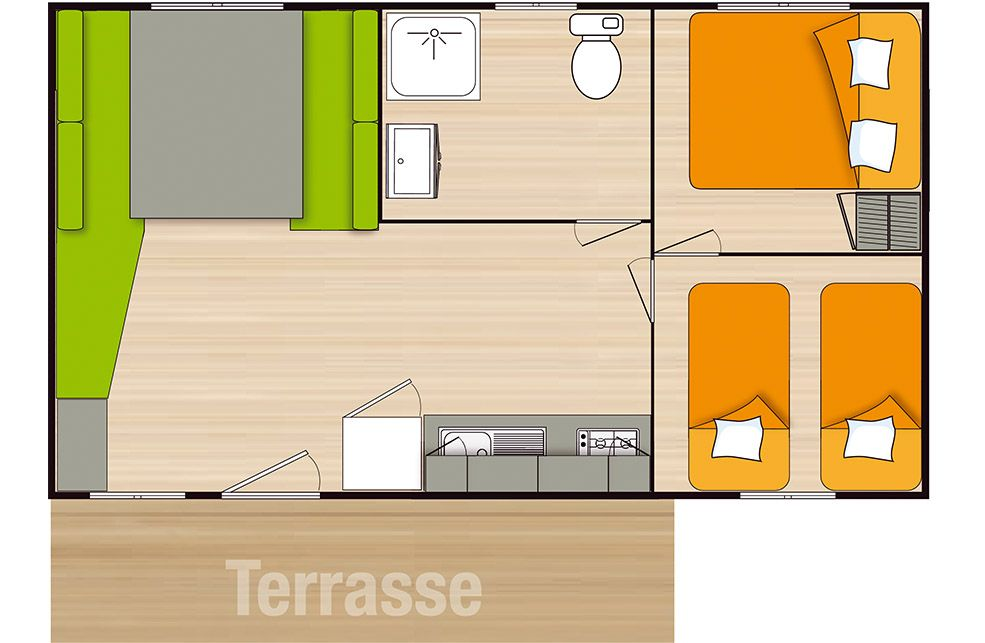 Mobil Home 4 Places Grand Confort avec terrasse bois